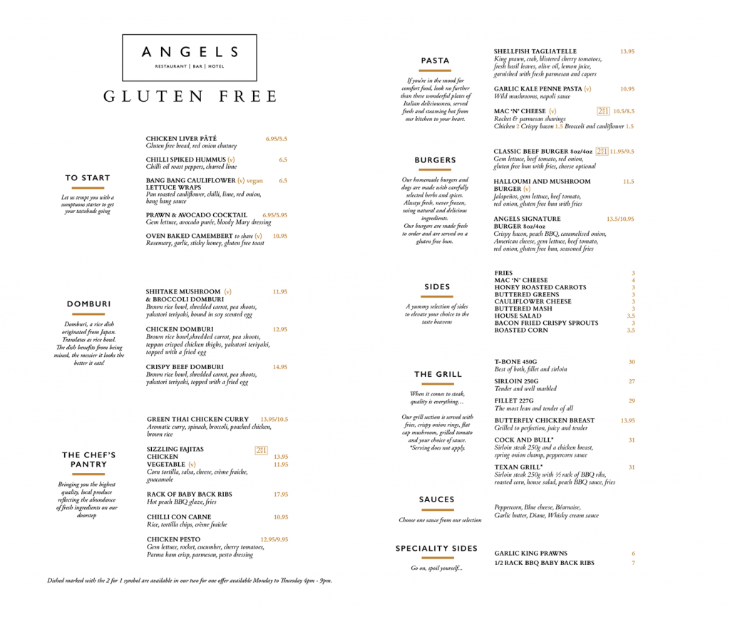 Angels Hotel Lanarkshire food booking gluten free vegan